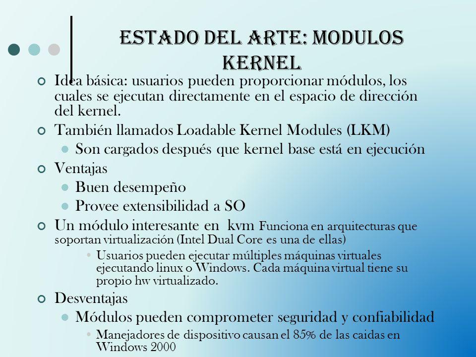 Estado del arte: Modulos kernel Idea básica: usuarios pueden proporcionar módulos, los cuales se ejecutan directamente en el espacio de dirección del