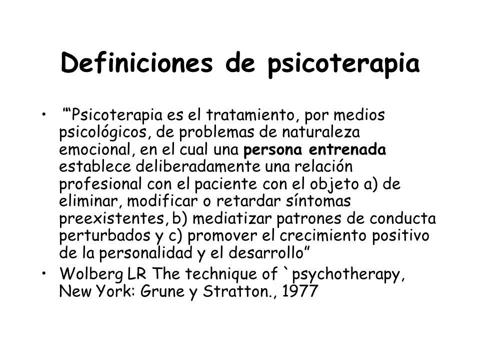 Definiciones de psicoterapia Psicoterapia es el tratamiento, por medios psicológicos, de problemas de naturaleza emocional, en el cual una persona ent