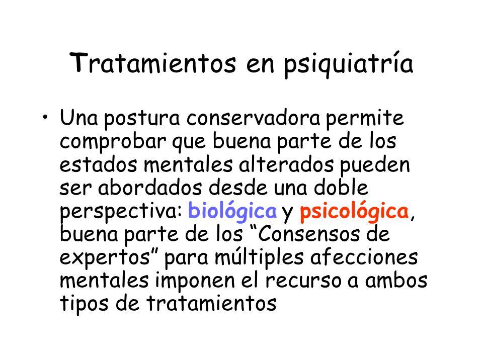 Tratamientos en psiquiatría Biológicos Psicofarmacológico Electro convulso terapia Otros Psicosociales Psicoterapia Reahabilitación