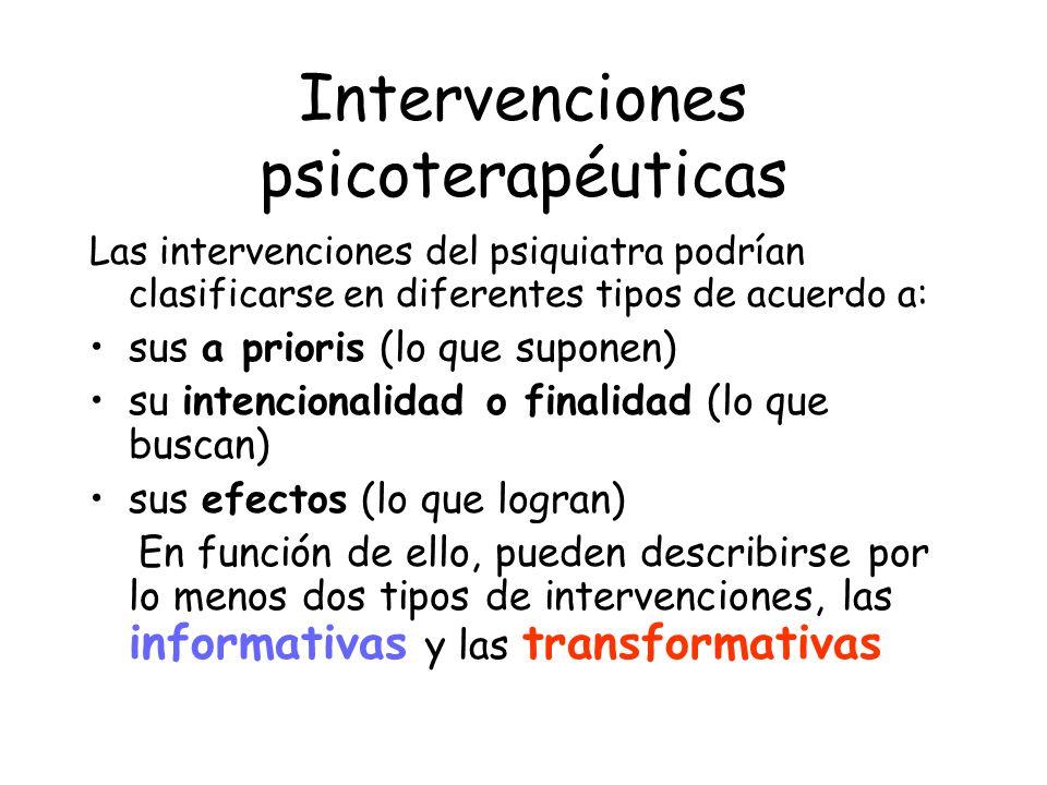 Intervenciones psicoterapéuticas Las intervenciones del psiquiatra podrían clasificarse en diferentes tipos de acuerdo a: sus a prioris (lo que supone
