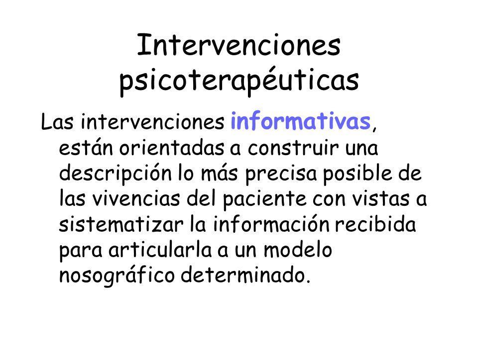 Intervenciones psicoterapéuticas Las intervenciones informativas, están orientadas a construir una descripción lo más precisa posible de las vivencias