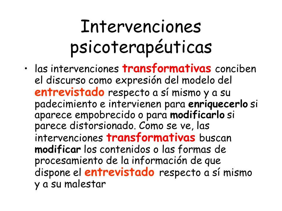 Intervenciones psicoterapéuticas las intervenciones transformativas conciben el discurso como expresión del modelo del entrevistado respecto a sí mism
