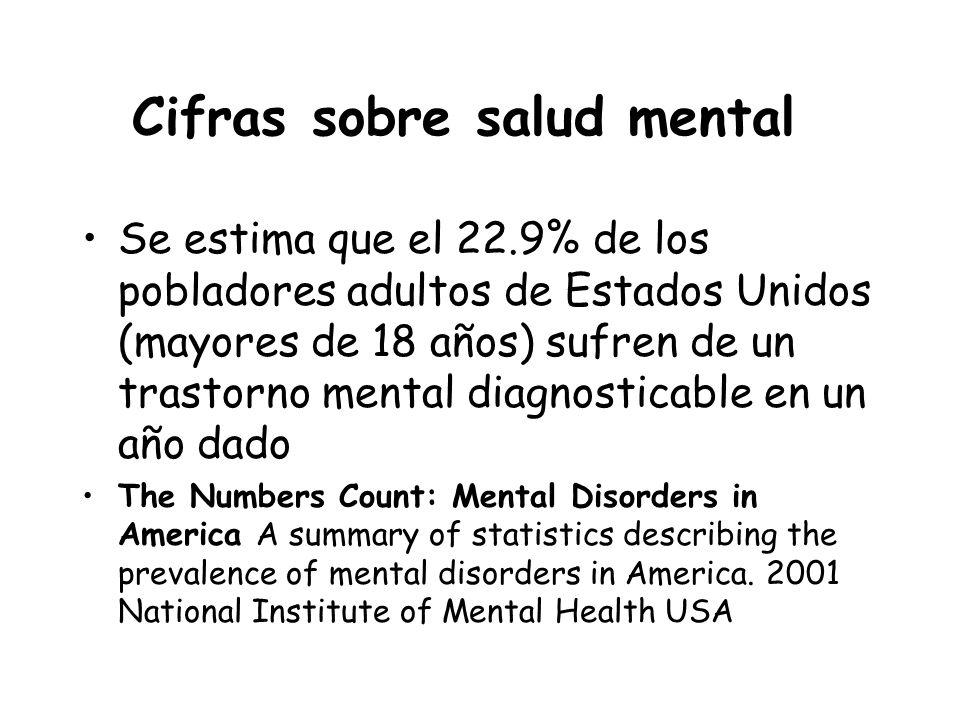 Cifras sobre salud mental Se estima que el 22.9% de los pobladores adultos de Estados Unidos (mayores de 18 años) sufren de un trastorno mental diagno