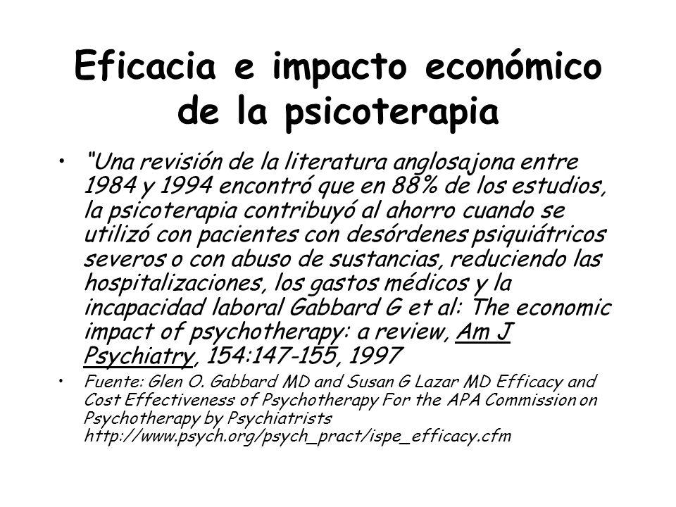 Eficacia e impacto económico de la psicoterapia Una revisión de la literatura anglosajona entre 1984 y 1994 encontró que en 88% de los estudios, la ps