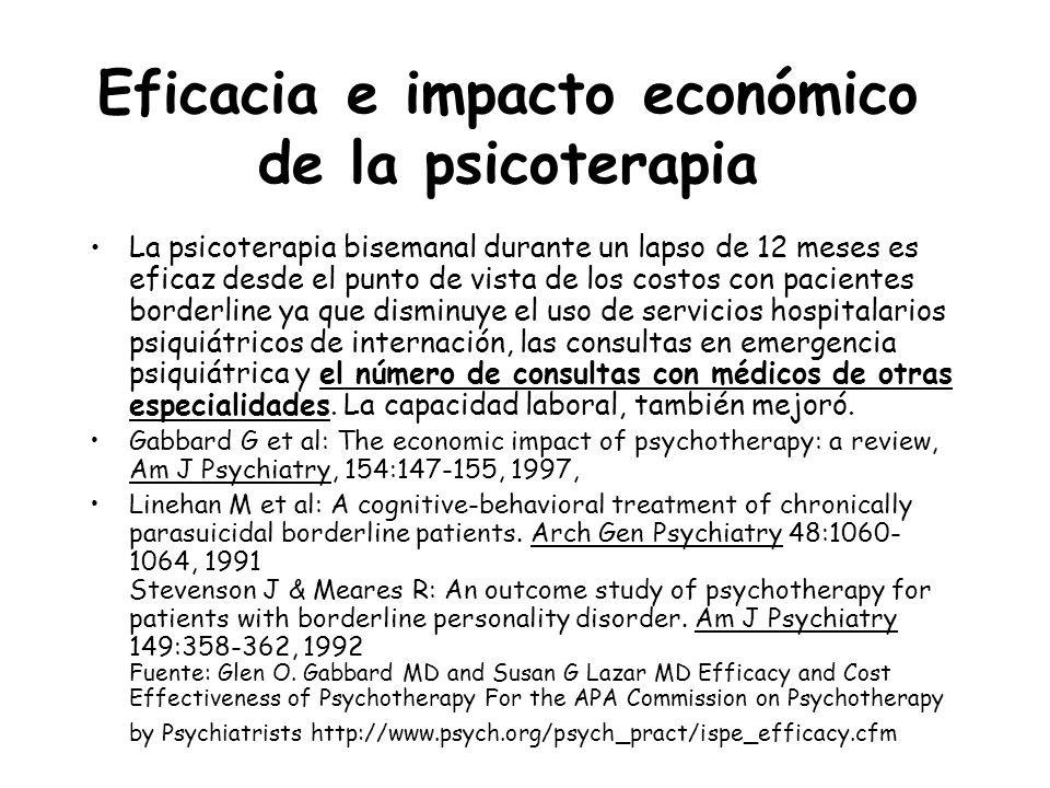 Eficacia e impacto económico de la psicoterapia La psicoterapia bisemanal durante un lapso de 12 meses es eficaz desde el punto de vista de los costos