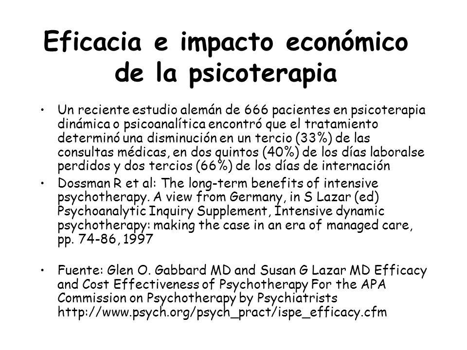 Eficacia e impacto económico de la psicoterapia Un reciente estudio alemán de 666 pacientes en psicoterapia dinámica o psicoanalítica encontró que el