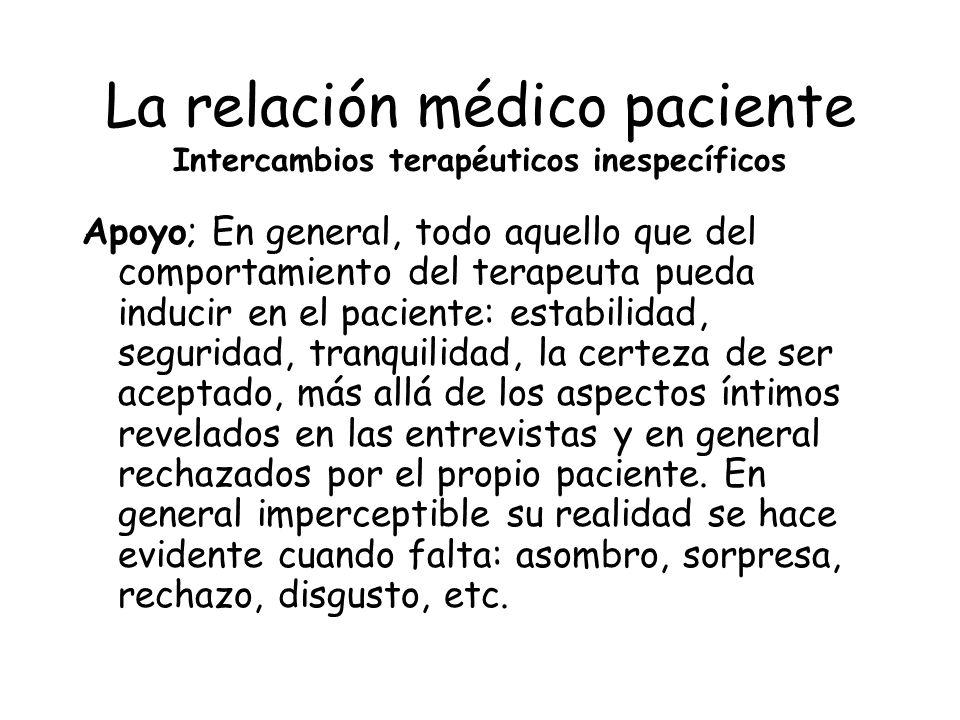 La relación médico paciente Intercambios terapéuticos inespecíficos Apoyo; En general, todo aquello que del comportamiento del terapeuta pueda inducir