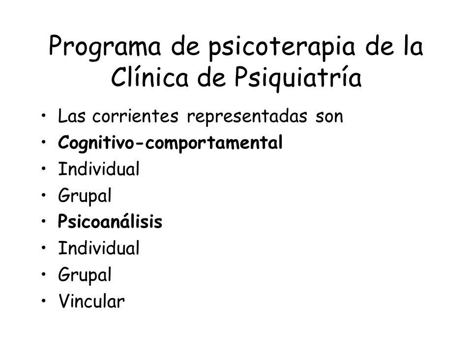 Programa de psicoterapia de la Clínica de Psiquiatría Las corrientes representadas son Cognitivo-comportamental Individual Grupal Psicoanálisis Indivi