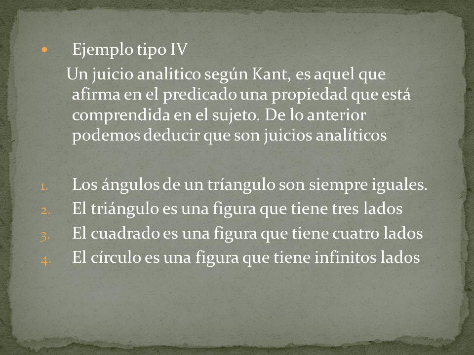 Ejemplo tipo IV Un juicio analitico según Kant, es aquel que afirma en el predicado una propiedad que está comprendida en el sujeto.