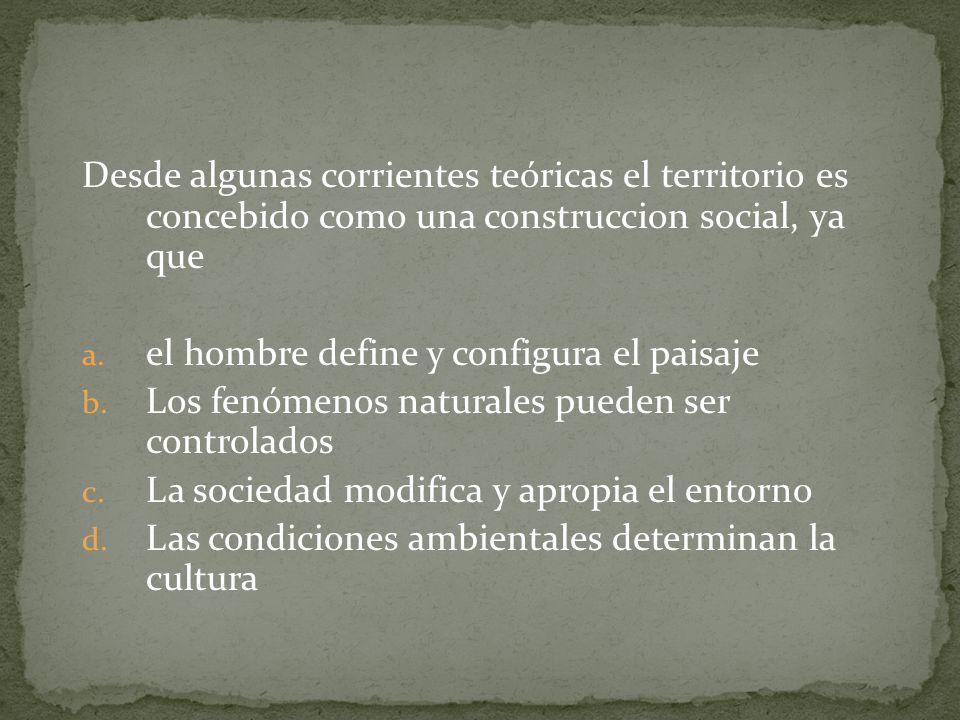 Desde algunas corrientes teóricas el territorio es concebido como una construccion social, ya que a.