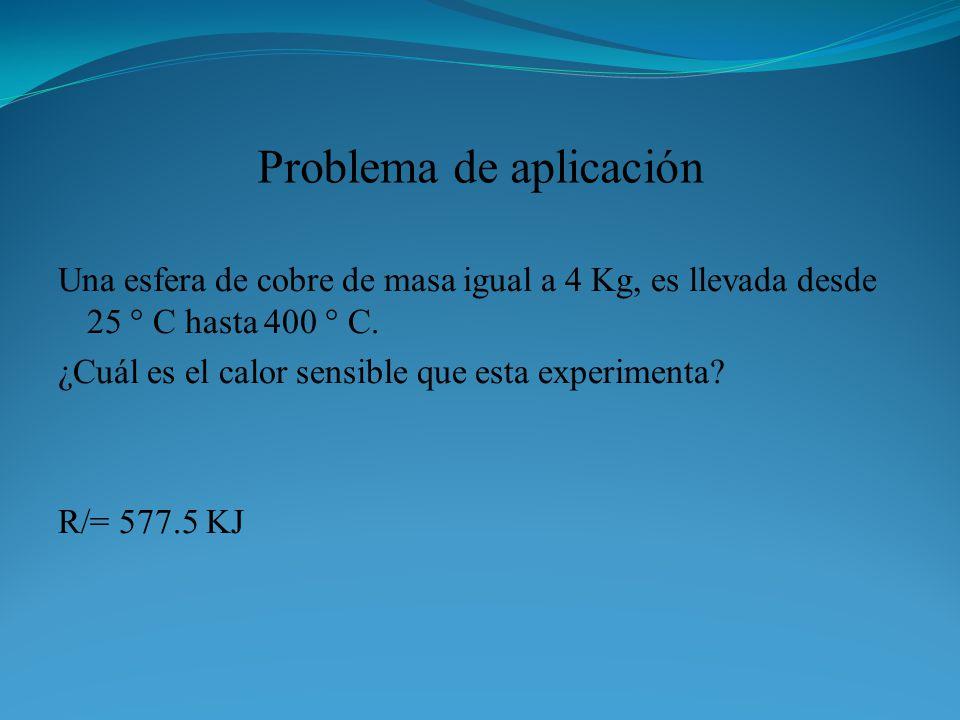 Problema de aplicación Una esfera de cobre de masa igual a 4 Kg, es llevada desde 25 ° C hasta 400 ° C. ¿Cuál es el calor sensible que esta experiment