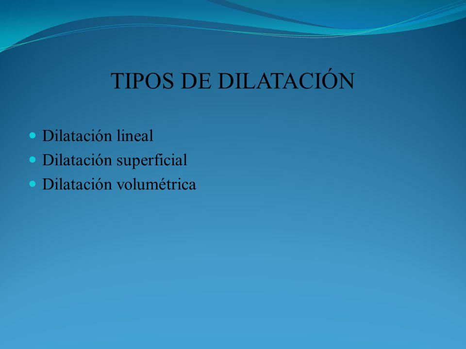 TIPOS DE DILATACIÓN Dilatación lineal Dilatación superficial Dilatación volumétrica