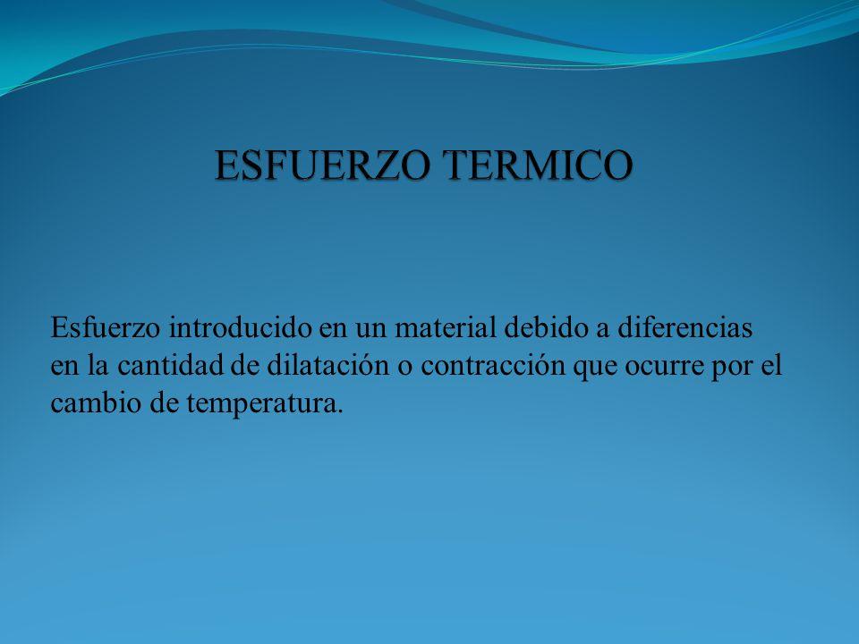 Esfuerzo introducido en un material debido a diferencias en la cantidad de dilatación o contracción que ocurre por el cambio de temperatura.