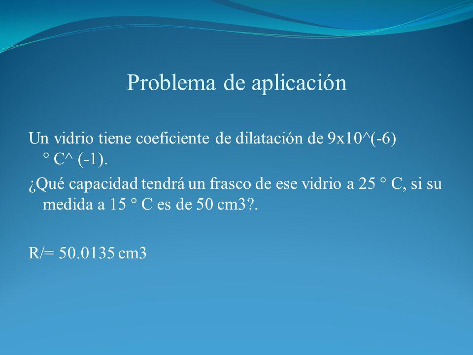 Problema de aplicación Un vidrio tiene coeficiente de dilatación de 9x10^(-6) ° C^ (-1). ¿Qué capacidad tendrá un frasco de ese vidrio a 25 ° C, si su