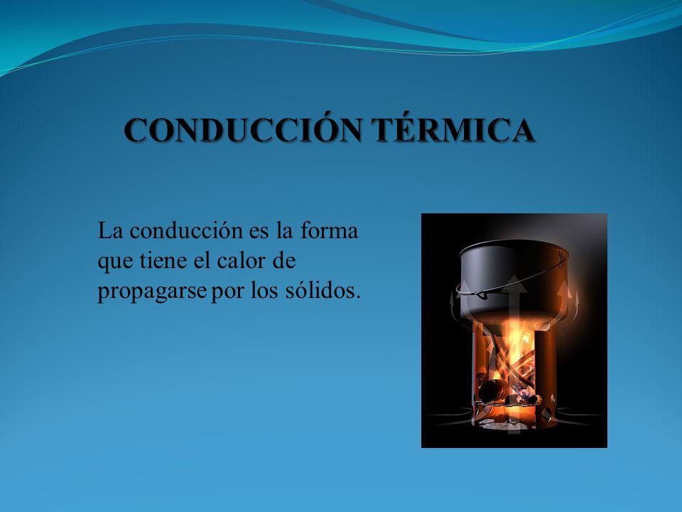 La conducción es la forma que tiene el calor de propagarse por los sólidos.