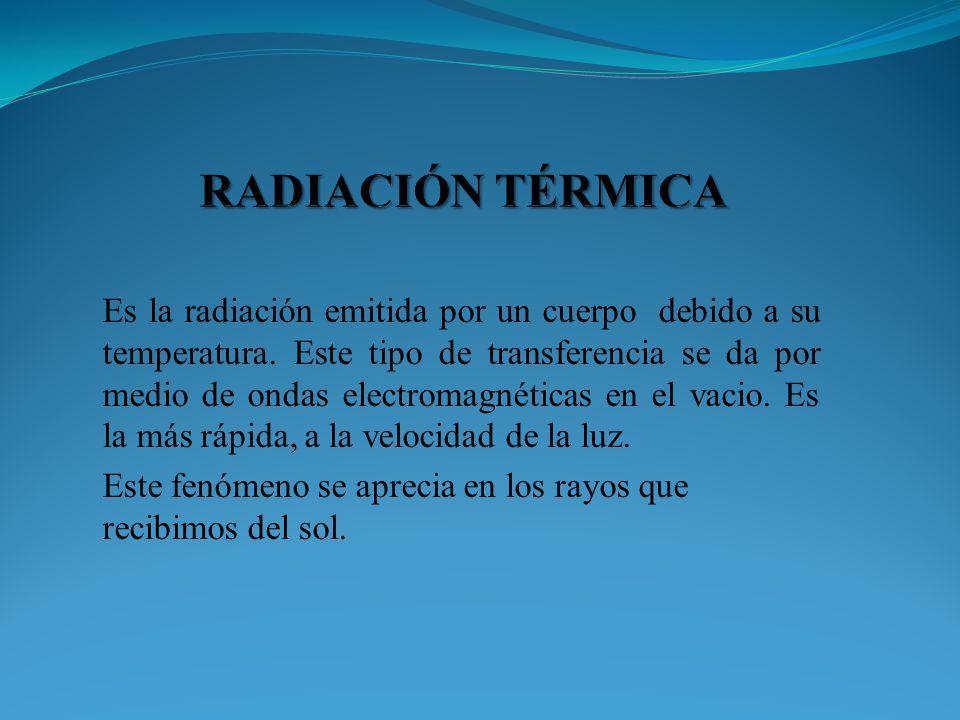Es la radiación emitida por un cuerpo debido a su temperatura. Este tipo de transferencia se da por medio de ondas electromagnéticas en el vacio. Es l