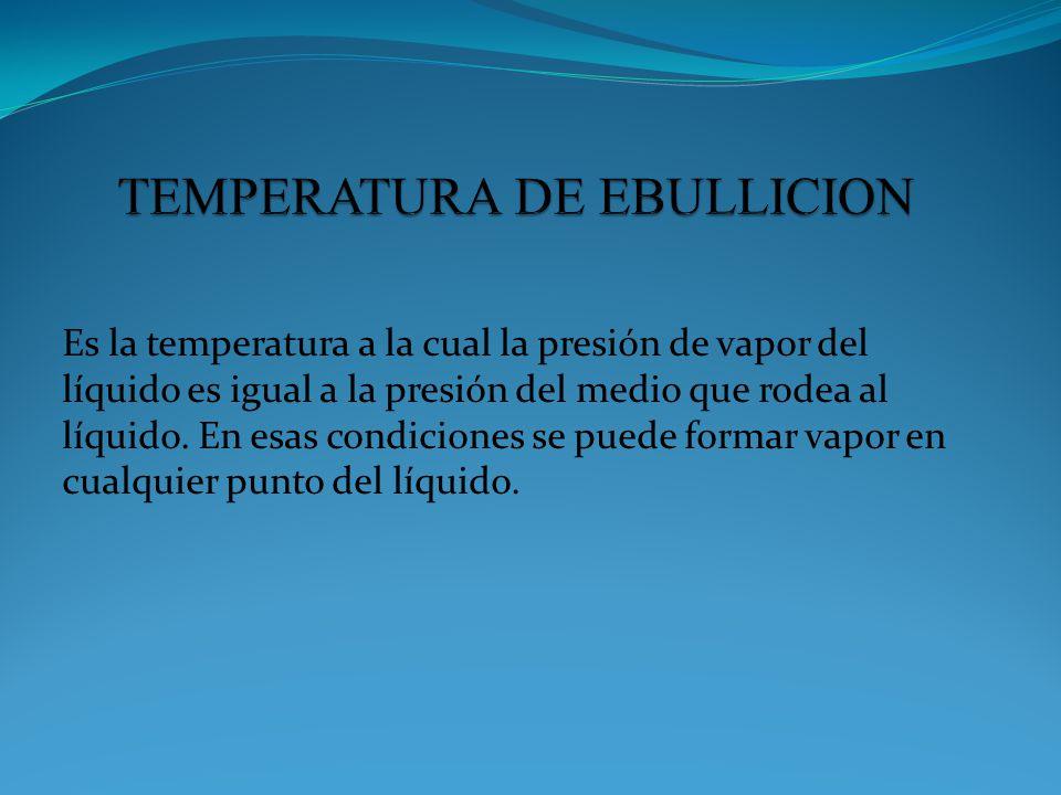 Es la temperatura a la cual la presión de vapor del líquido es igual a la presión del medio que rodea al líquido. En esas condiciones se puede formar
