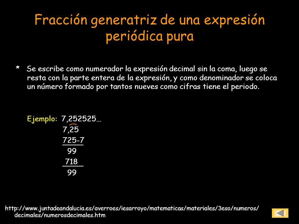 Fracción generatriz de una expresión periódica pura * Se escribe como numerador la expresión decimal sin la coma, luego se resta con la parte entera d