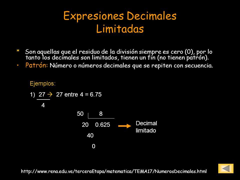 Expresiones Decimales Limitadas * Son aquellas que el residuo de la división siempre es cero (0), por lo tanto los decimales son limitados, tienen un