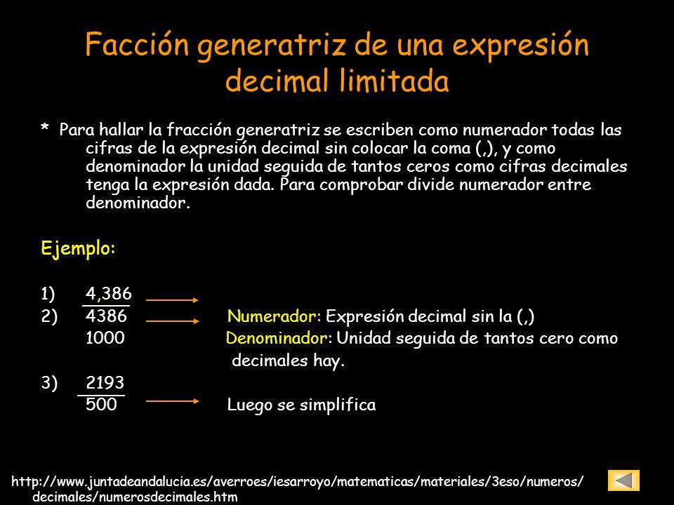 Fracción generatriz de una expresión periódica pura * Se escribe como numerador la expresión decimal sin la coma, luego se resta con la parte entera de la expresión, y como denominador se coloca un número formado por tantos nueves como cifras tiene el periodo.