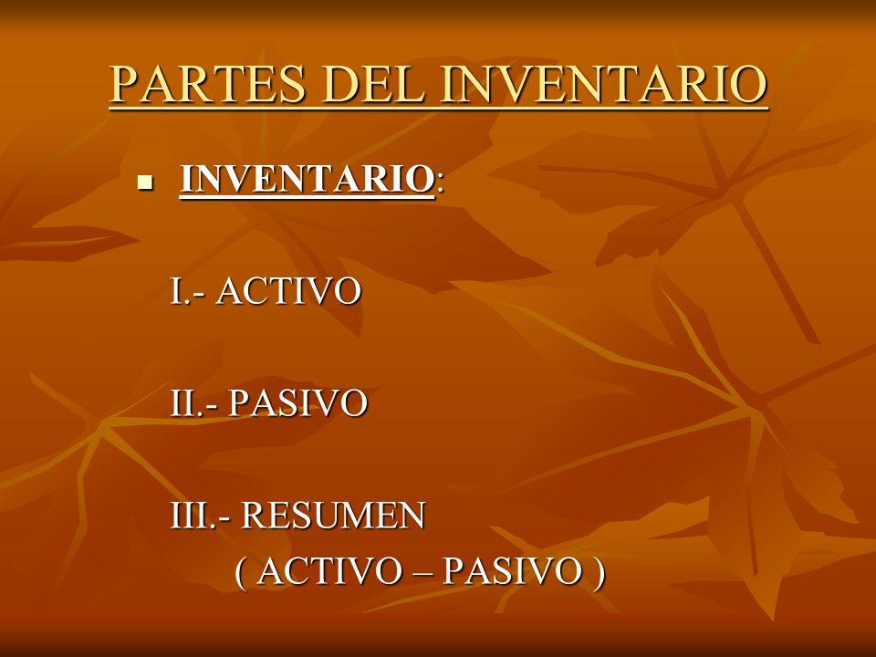 PARTES DEL INVENTARIO BALANCE DE INVENTARIO BALANCE DE INVENTARIO Es la relación que existe entre los Activos con el Pasivo y el Patrimonio dando como resultado una igualdad.