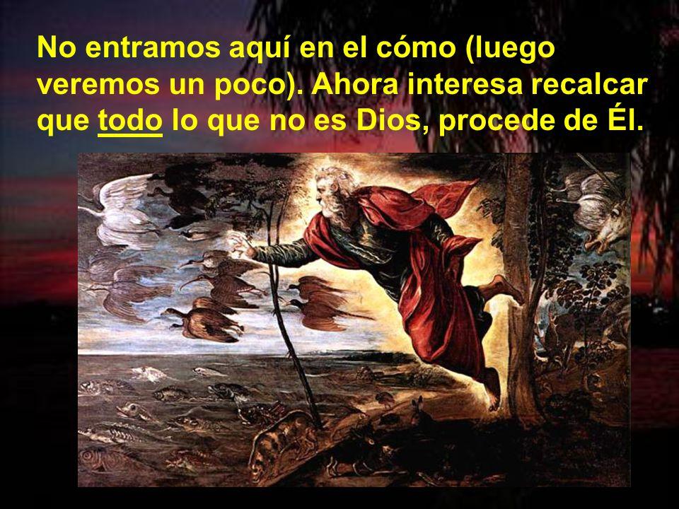 La Sagrada Escritura dice: «en el principio creó Dios el cielo y la tierra» (Gn 1, 1). Quiere decir que Dios es el creador de todas las cosas visibles
