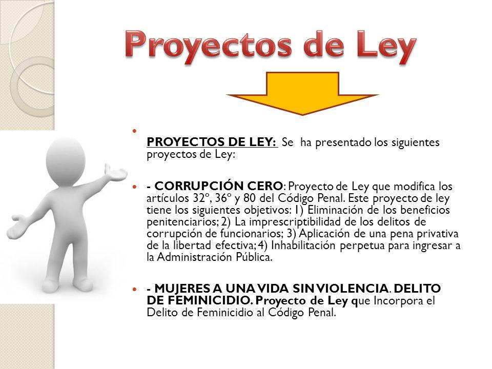 PROYECTOS DE LEY: Se ha presentado los siguientes proyectos de Ley: - CORRUPCIÓN CERO: Proyecto de Ley que modifica los artículos 32º, 36º y 80 del Código Penal.