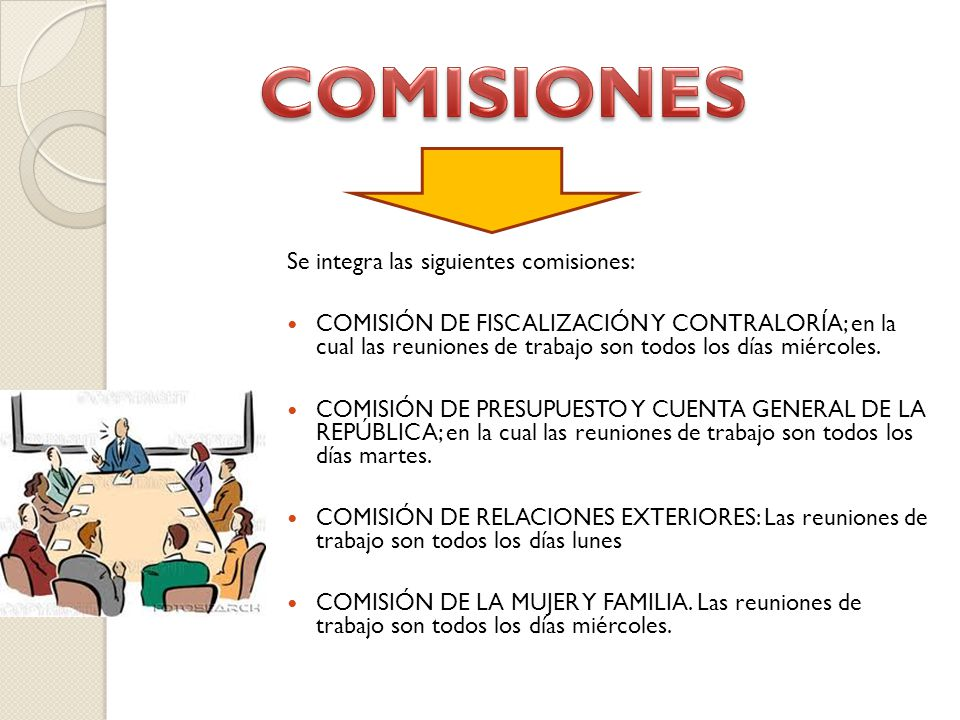 Se integra las siguientes comisiones: COMISIÓN DE FISCALIZACIÓN Y CONTRALORÍA; en la cual las reuniones de trabajo son todos los días miércoles.