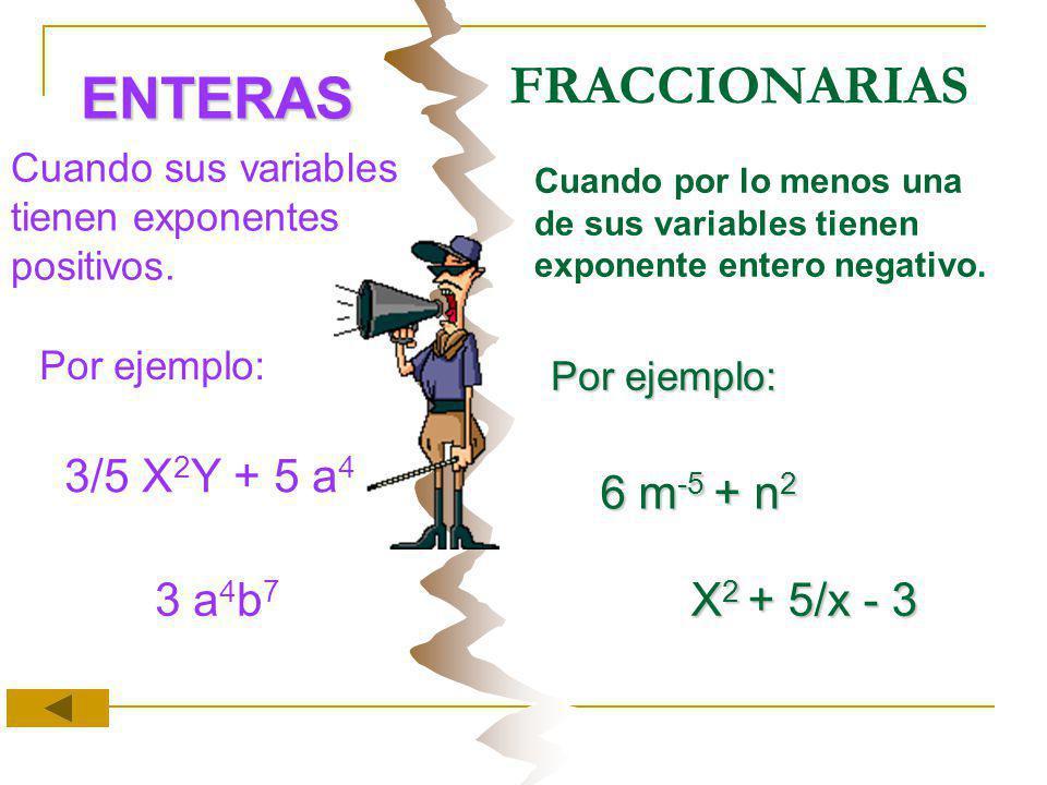 FRACCIONARIAS ENTERAS Cuando sus variables tienen exponentes positivos. Cuando por lo menos una de sus variables tienen exponente entero negativo. Por