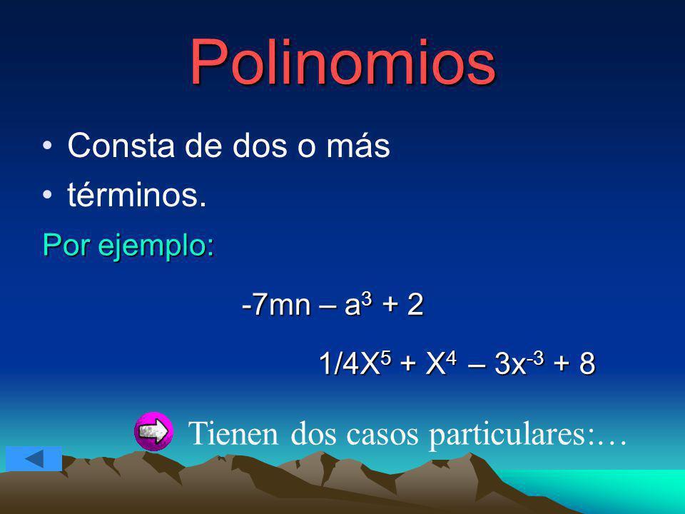 Polinomios Consta de dos o más términos. Por ejemplo: -7mn – a 3 + 2 1/4X 5 + X 4 – 3x -3 + 8 Tienen dos casos particulares:…