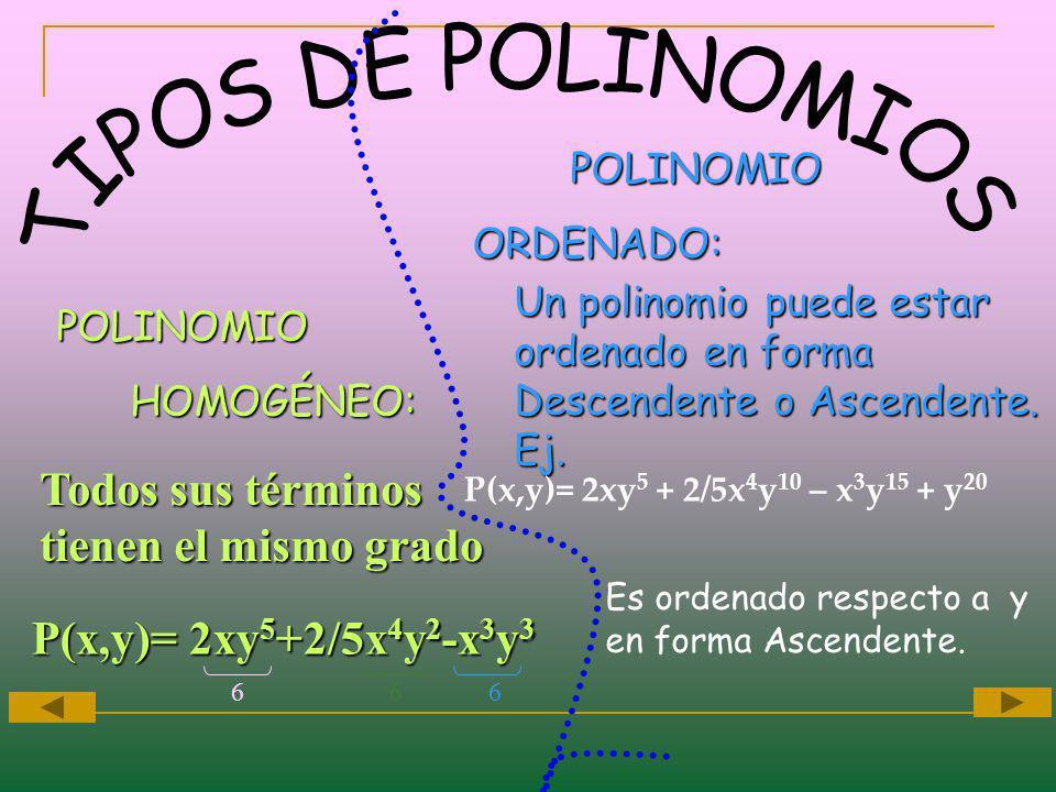 Todos sus términos tienen el mismo grado Un polinomio puede estar ordenado en forma Descendente o Ascendente. Ej. POLINOMIO HOMOGÉNEO: POLINOMIO POLIN