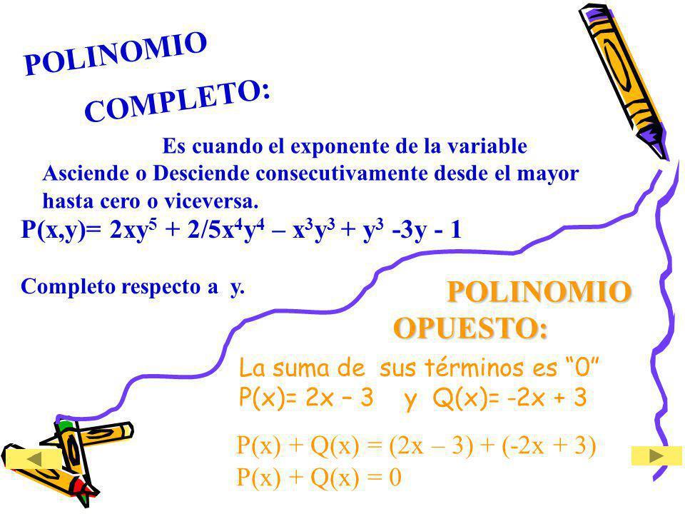 Es cuando el exponente de la variable Asciende o Desciende consecutivamente desde el mayor hasta cero o viceversa. La suma de sus términos es 0 P(x)=
