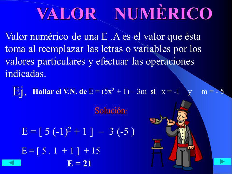 VALOR NUMÈRICO Valor numérico de una E.A es el valor que ésta toma al reemplazar las letras o variables por los valores particulares y efectuar las op