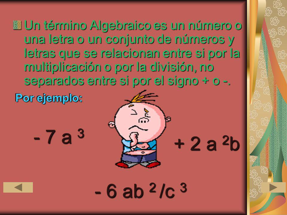 Un término Algebraico es un número o una letra o un conjunto de números y letras que se relacionan entre si por la multiplicación o por la división, n