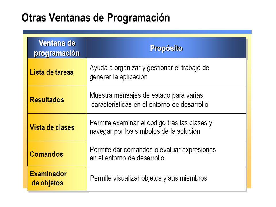 Ventana de programación programaciónPropósitoPropósito Lista de tareas Ayuda a organizar y gestionar el trabajo de generar la aplicación Resultados Mu
