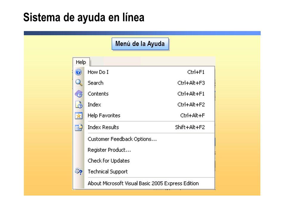 Sistema de ayuda en línea Menú de la Ayuda
