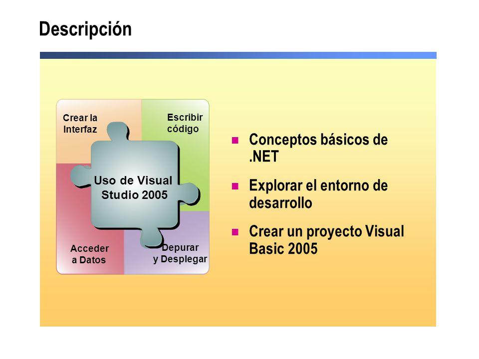 Conceptos básicos de.NET Explorar el entorno de desarrollo Crear un proyecto Visual Basic 2005 Use Visual Studio.NET Acceder a Datos Depurar y Despleg