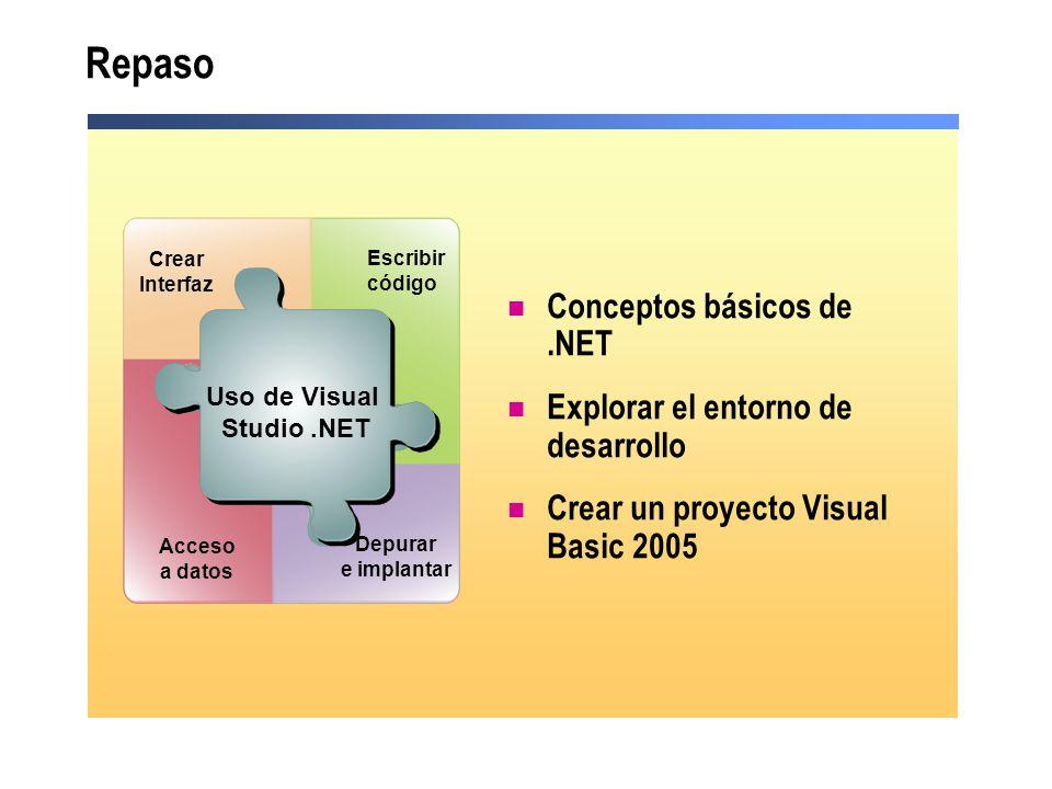 Conceptos básicos de.NET Explorar el entorno de desarrollo Crear un proyecto Visual Basic 2005 Use Visual Studio.NET Acceso a datos Depurar e implanta