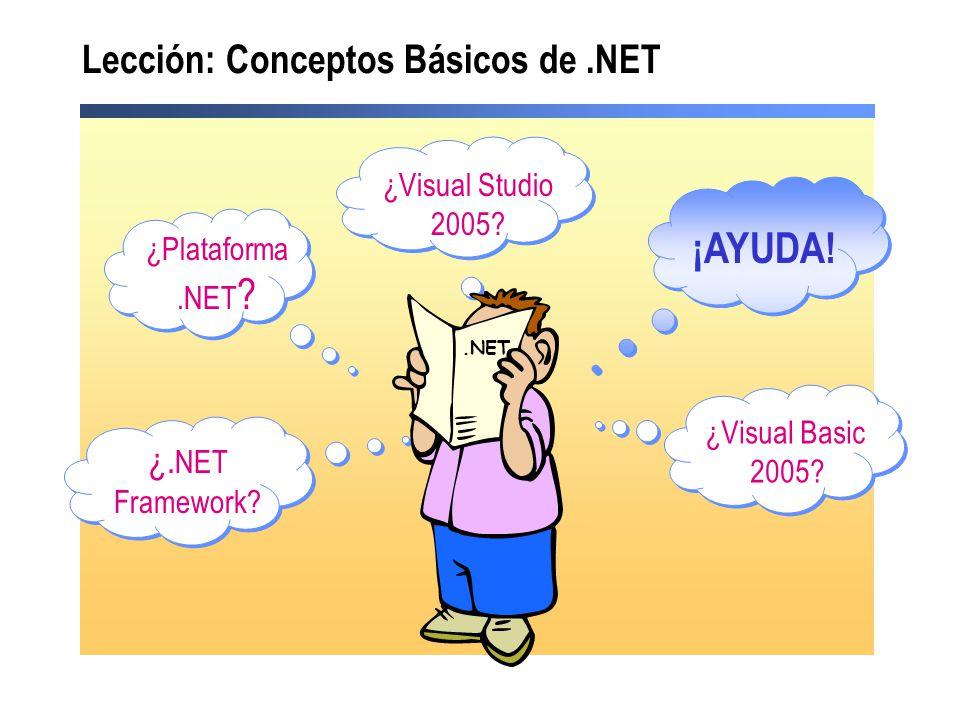 ¿Plataforma.NET ? ¿Visual Studio 2005? ¿Visual Basic 2005? ¿. NET Framework? ¡AYUDA! Lección: Conceptos Básicos de.NET.NET