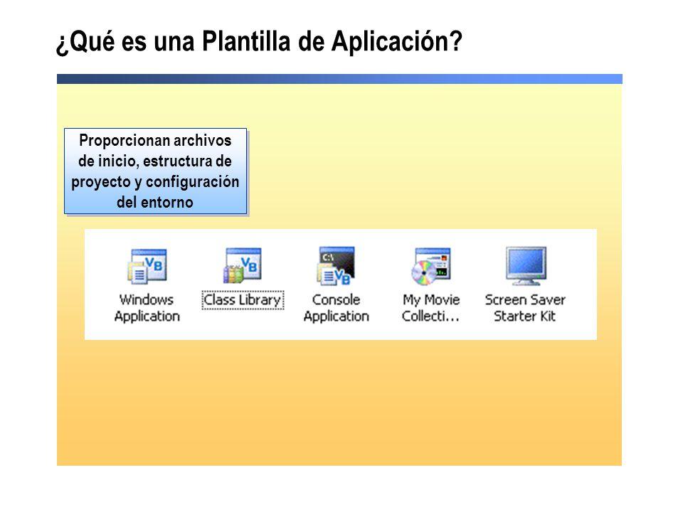 ¿Qué es una Plantilla de Aplicación? Proporcionan archivos de inicio, estructura de proyecto y configuración del entorno