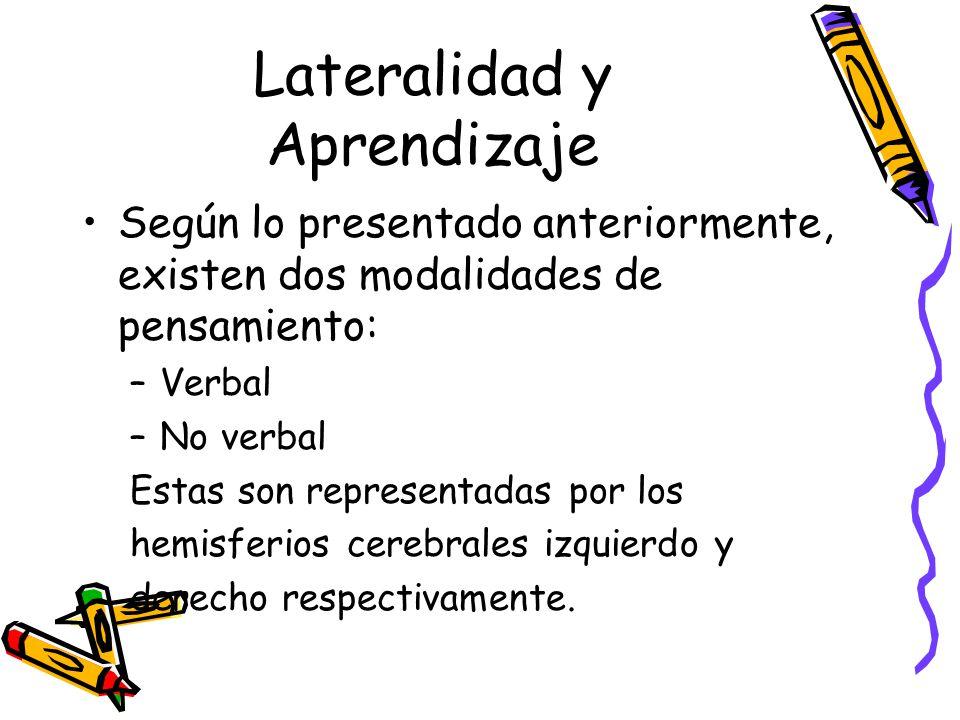 Lateralidad y Aprendizaje Según lo presentado anteriormente, existen dos modalidades de pensamiento: –Verbal –No verbal Estas son representadas por los hemisferios cerebrales izquierdo y derecho respectivamente.