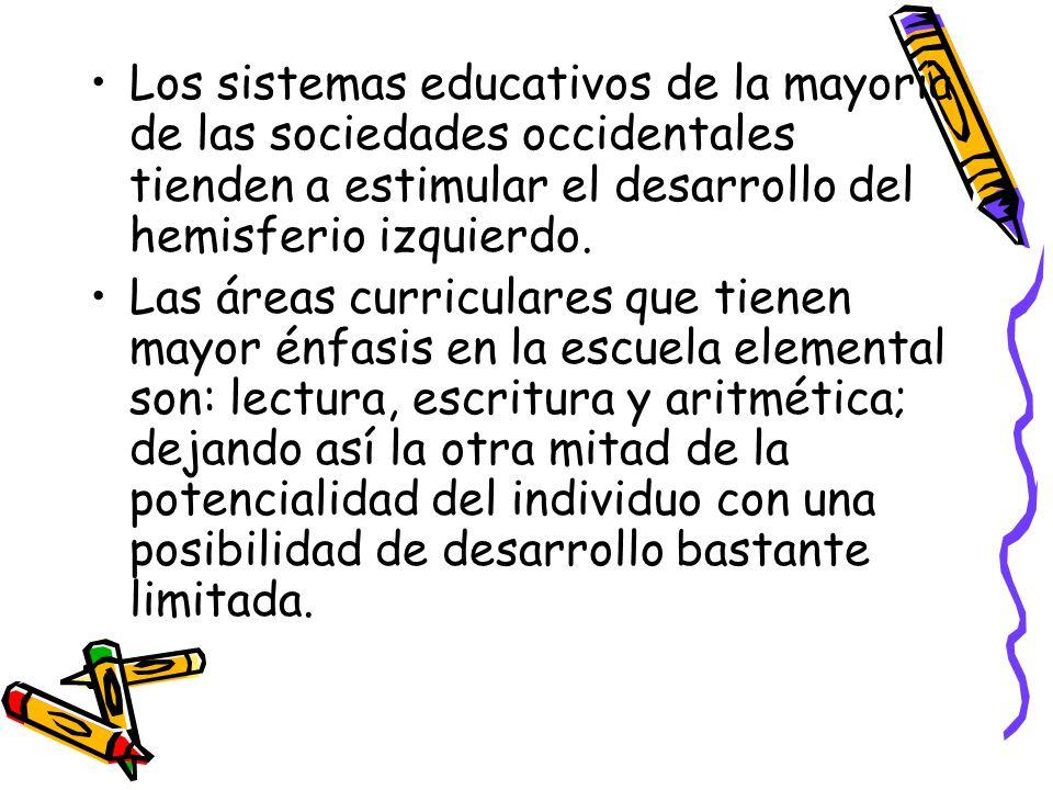 Los sistemas educativos de la mayoría de las sociedades occidentales tienden a estimular el desarrollo del hemisferio izquierdo.