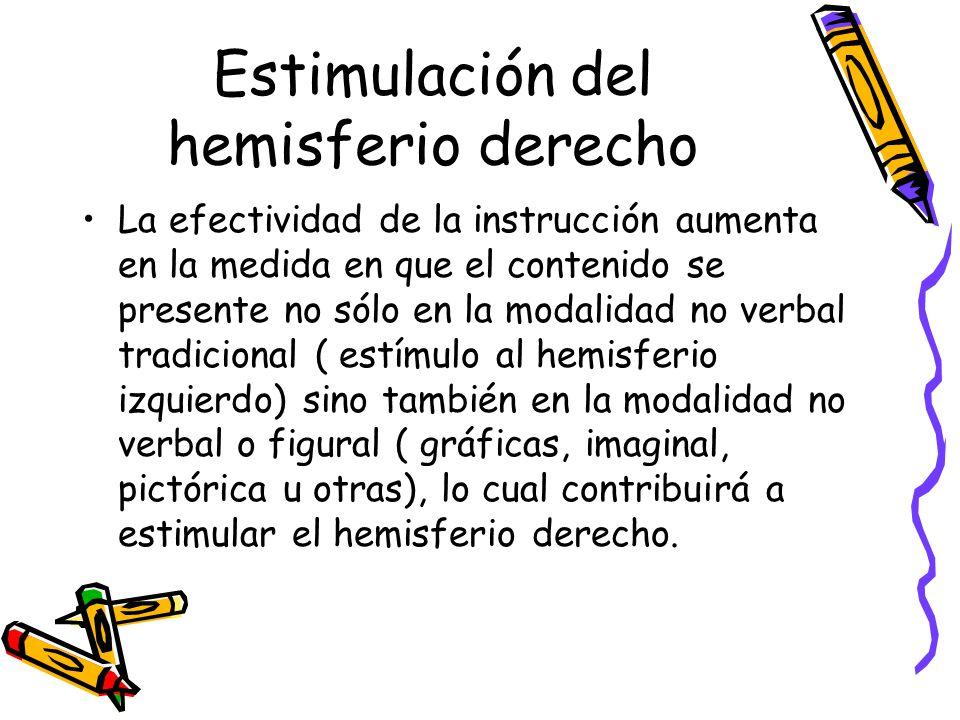 Estimulación del hemisferio derecho La efectividad de la instrucción aumenta en la medida en que el contenido se presente no sólo en la modalidad no verbal tradicional ( estímulo al hemisferio izquierdo) sino también en la modalidad no verbal o figural ( gráficas, imaginal, pictórica u otras), lo cual contribuirá a estimular el hemisferio derecho.