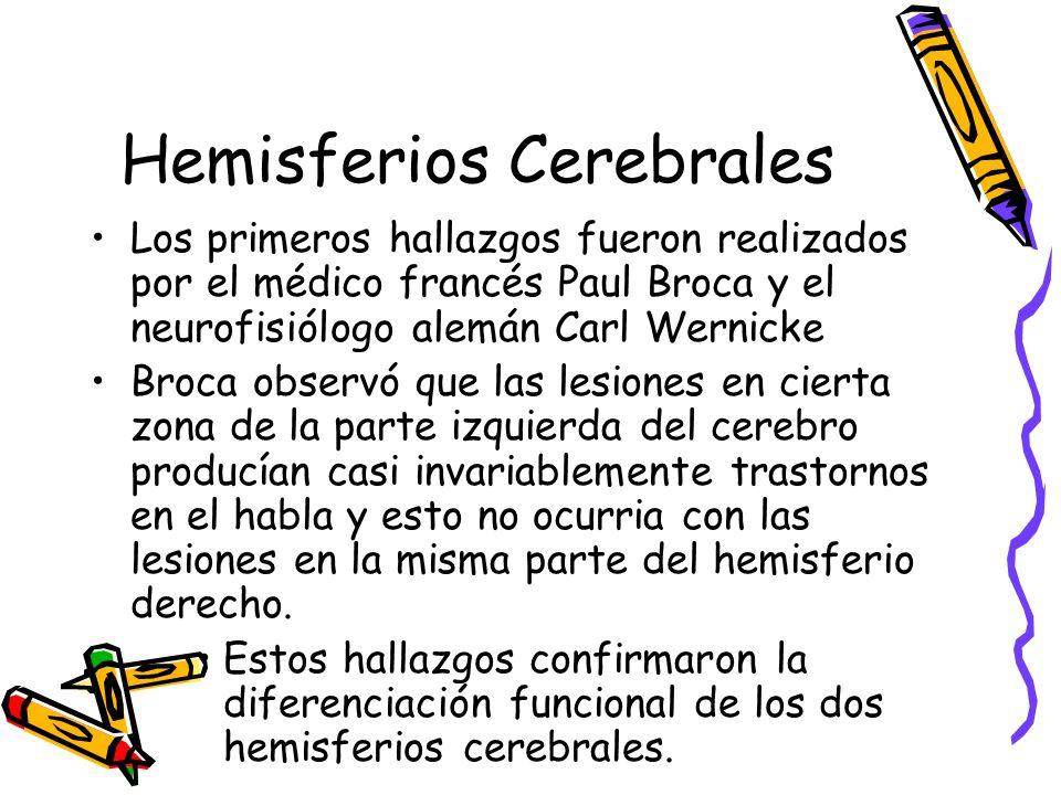 Hemisferios Cerebrales Los primeros hallazgos fueron realizados por el médico francés Paul Broca y el neurofisiólogo alemán Carl Wernicke Broca observó que las lesiones en cierta zona de la parte izquierda del cerebro producían casi invariablemente trastornos en el habla y esto no ocurria con las lesiones en la misma parte del hemisferio derecho.
