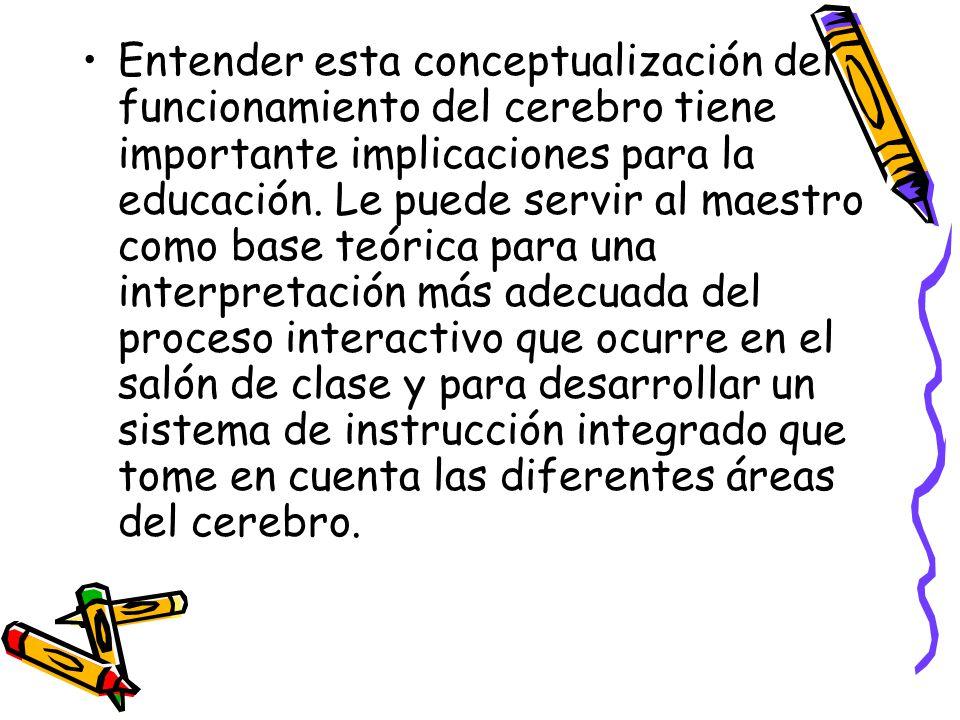 Entender esta conceptualización del funcionamiento del cerebro tiene importante implicaciones para la educación.