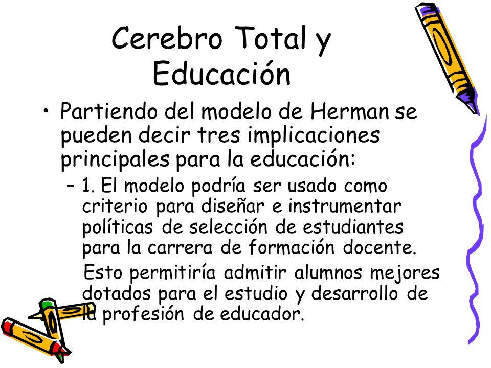 Cerebro Total y Educación Partiendo del modelo de Herman se pueden decir tres implicaciones principales para la educación: –1.