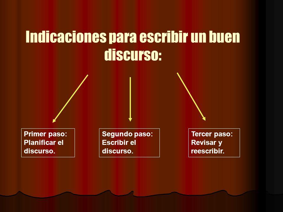 Indicaciones para escribir un buen discurso: Primer paso: Planificar el discurso. Segundo paso: Escribir el discurso. Tercer paso: Revisar y reescribi