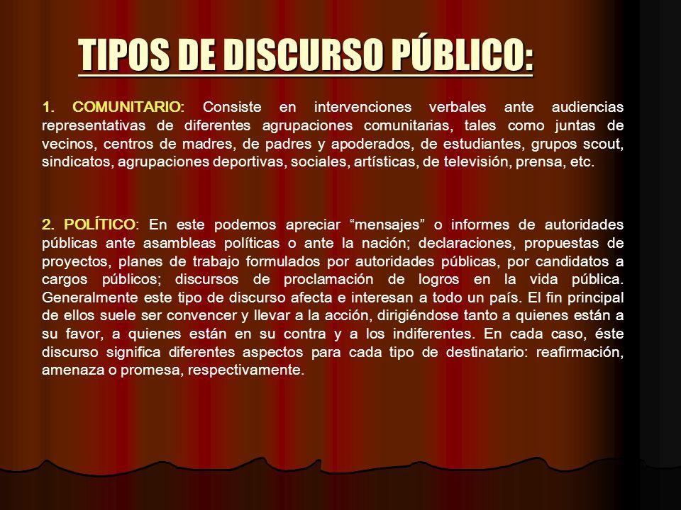 TIPOS DE DISCURSO PÚBLICO: 1. COMUNITARIO: Consiste en intervenciones verbales ante audiencias representativas de diferentes agrupaciones comunitarias