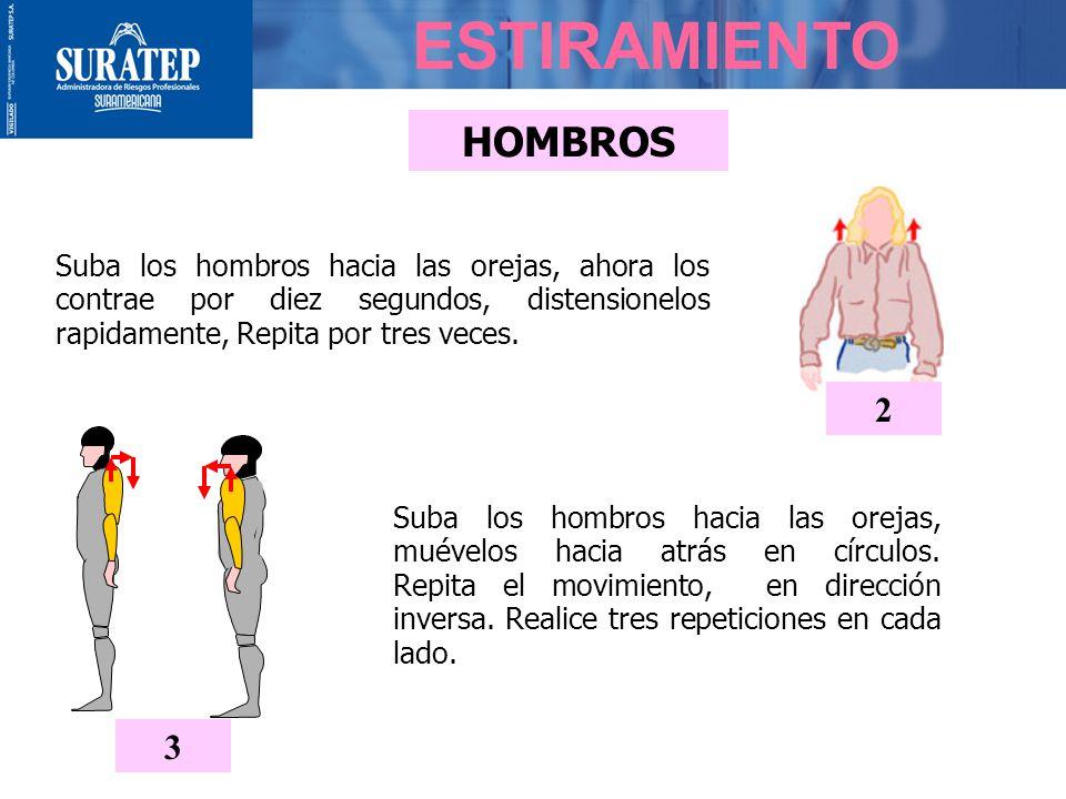 ESTIRAMIENTO CUELLO - HOMBROS Pase los brazos por detrás de la espalda, con la mano derecha tome la muñeca izquierda y tire suavemente hacia abajo. In