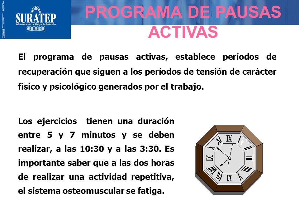 El programa de pausas activas, establece períodos de recuperación que siguen a los períodos de tensión de carácter físico y psicológico generados por el trabajo.
